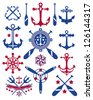 A collections of vector nautical icons. - stock photo