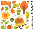 A colorful autumn set - stock vector