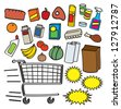 A colorful collection of various cartoon supermarket items, products, and graphics. - stock vector