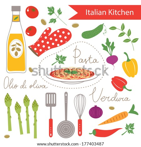 Seamless texture soup cooking stock vector 87639514 for Italian kitchen set