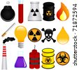 A colorful Theme of cute vector Icons : Dangerous Poison, Explosive, Chemical, Pollution (Environmental Damage) - stock vector