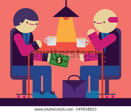 A couple of businessman have a meeting at a cafe and they hand each other a bill under the table