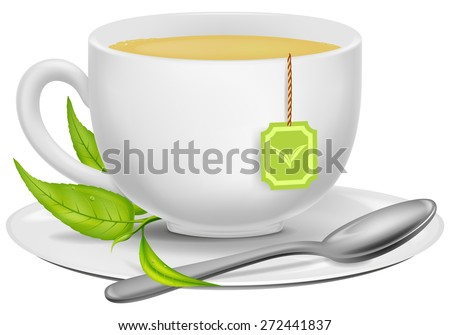 A cup of green tea with tea leaves and a spoon.