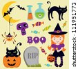 A Cute halloween icons collection - stock vector
