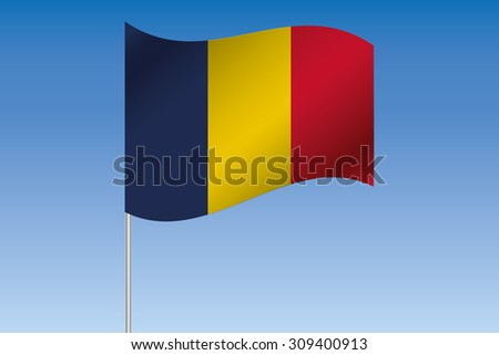 A 3D Flag Illustration waving in the sky of the country of  Chad