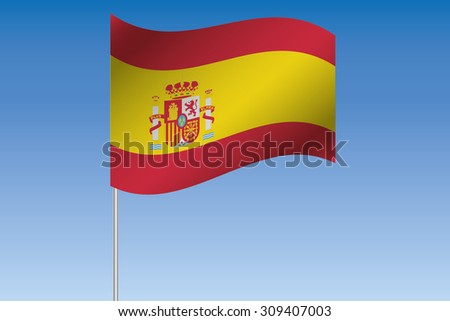 A 3D Flag Illustration waving in the sky of the country of  Spain