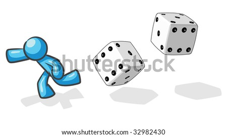 "A design mascot running from giant dice, based on the saying ""victim of chance""."