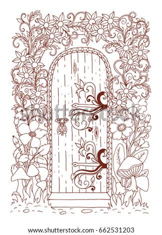 Fairytale Door Among Flowers Vector Illustration Stock