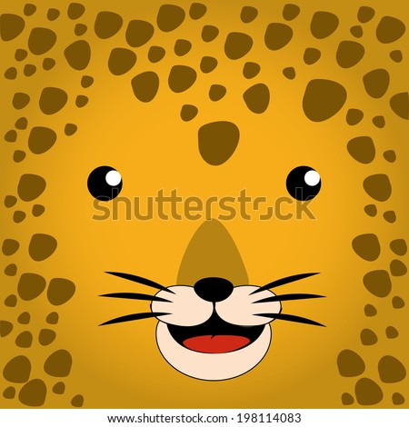 a happy face of a colored leopard
