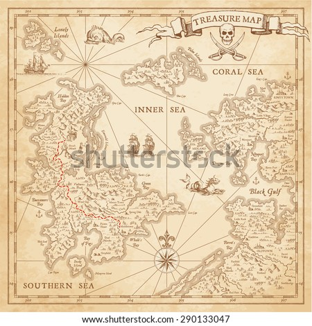"A High detail, grunge Vector ""Treasure Map"" with lots of decoration hand drawn with incredible details."