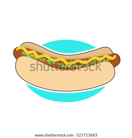 A hot dog in a bun with mustrad and relish