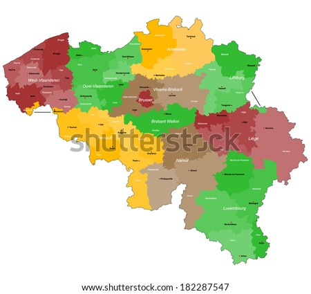 A large, detailed map of Belgium with all districts and main cities.