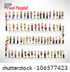 a large group of pixel people vector icon design - stock photo