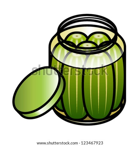 large jar of crisp tart sweet and sour pickles  - stock vectorPickle Jar Clip Art