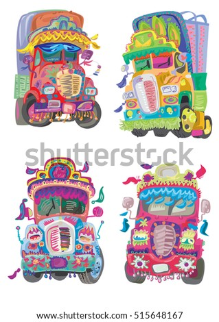 a little set of bright decorated indian trucks painted with traditional patterns - cartoon