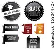 a lot of black and colored icons for black friday - stock vector