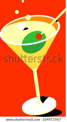 A martini with toothpick and olive