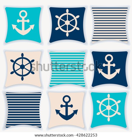 A pillow menu vector illustration. The design of the pillows on the marine theme. Pillow for flat interior design. Pillow on white background stock vector