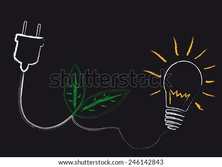A plug with a cable to a light bulb with two green leafs.