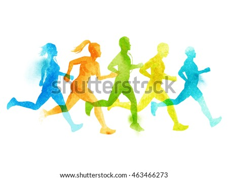 A running group of active sports people, men and women. Watercolour vector illustration.