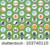 A seamless pattern for Halloween with lots of cute objects. - stock vector