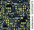 A seamlessly repeatable background depicting a crowded residential neighborhood at night. Eps 8 Vector. - stock