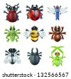 A series set of colourful insect bug icons, including ladybird mantis dragonfly bee ant grasshopper fly and other beetles - stock vector