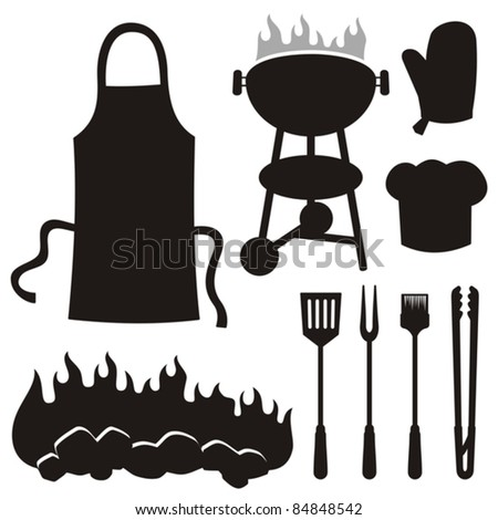 A set of barbecue silhouette icons isolated on white background.