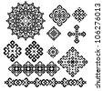 A set of black and white geometric designs 10. Vector illustration. - stock photo