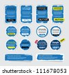 A set of blue vector grungy paper stickers, labels, tags and banners with hand painted / cracked paint worn out  backgrounds - stock photo