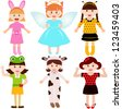 A set of cartoon female kids, young girls in cute costumes - stock photo