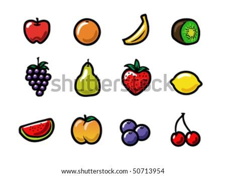 Set Cute Colorful Cartoon Fruit Icons Stock Illustration ...
