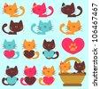 A set of cute kittens - stock vector