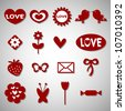 A set of cute romantic icons - stock vector