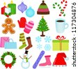 A Set of Cute Vector Icons : Winter / Christmas Theme - stock vector