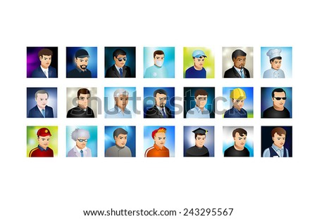 A set of detailed colorful avatars with colorful backgrounds showing the portraits of people from a variety of different careers.