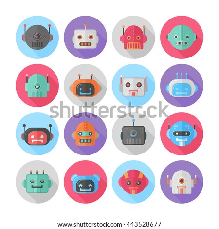 A set of flat robot icons for mobile apps, web-design, browser games, media, social networks avatars