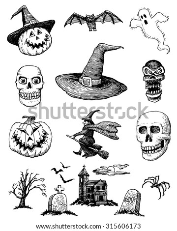 a set of hand drawn halloween items for creating your layouts - Halloween Items