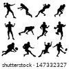 A set of highly detailed high quality American football player silhouettes - stock photo
