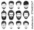 A set of mens hairstyles, beards and mustaches.Gentlmen haircuts and shaves.  Digital hand drawn vector illustration. - stock vector