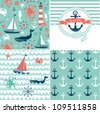 A set of 4 nautical backgrounds, blue, red and white seamless patterns - stock vector