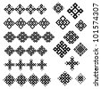 A set of of black and white geometric designs 3. Vector illustration. - stock vector