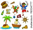 a set of pirate items - stock vector