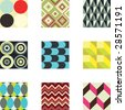 A set of 9 seamlessly tiling vector patterns in trendy colors. - stock vector
