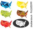 A set of seasonally or mood representative colored USA maps - stock vector