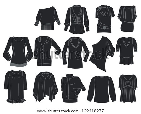 A set of silhouettes of tunics
