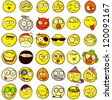A set of 36 smileys for every taste. Done in comic doodle style. - stock vector