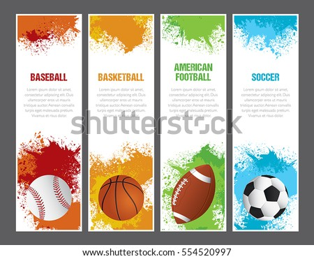 A set of sports themed banners for football, soccer, baseball and basketball.