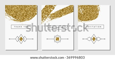 Set three gold glitter abstract brush stock vector 369996803 a set of three gold glitter abstract brush stroke designs and linear ethnic elements invitation stopboris Image collections