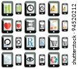 A set of touchscreen device icons and buttons - stock photo